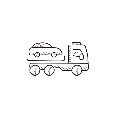 hand truck: Car towing truck vector sketch icon isolated on background. Hand drawn Car towing truck icon. Car towing truck sketch icon for infographic, website or app.
