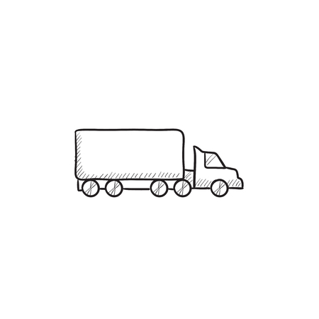 waggon: Delivery truck vector sketch icon isolated on background. Hand drawn Delivery truck icon. Delivery truck sketch icon for infographic, website or app. Illustration
