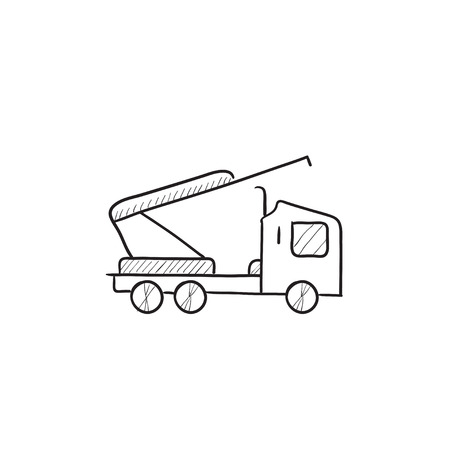car hoist: Machine with crane and cradles vector sketch icon isolated on background. Hand drawn Machine with crane and cradles icon. Machine with crane and cradles sketch icon for infographic, website or app.