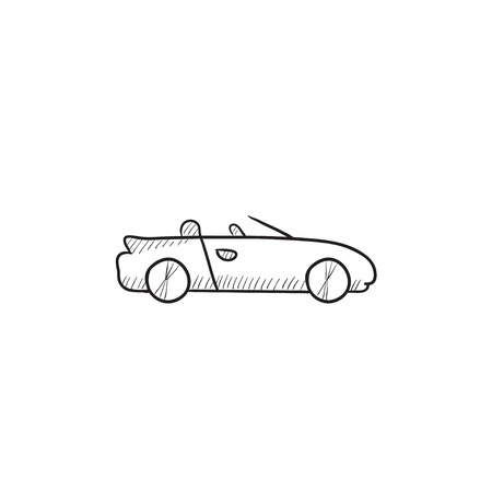 cabrio: Convertible car vector sketch icon isolated on background. Hand drawn Convertible car icon. Convertible car sketch icon for infographic, website or app.