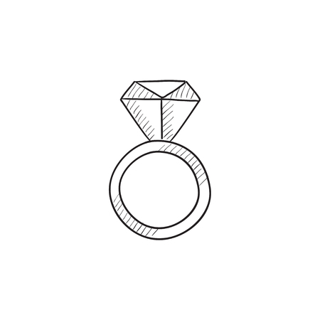 Engagement ring with diamond vector sketch icon isolated on background. Hand drawn Engagement ring with diamond icon. Engagement ring with diamond sketch icon for infographic, website or app. Иллюстрация