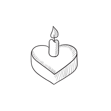 wedding reception decoration: Heart-shaped cake with candle vector sketch icon isolated on background. Hand drawn Heart-shaped cake with candle icon. Heart-shaped cake with candle sketch icon for infographic, website or app.