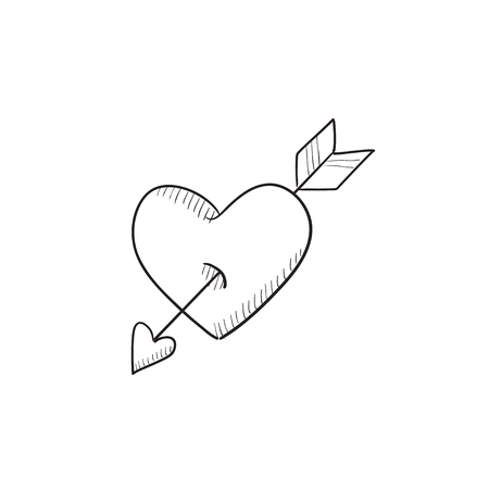 pierced: Heart pierced with arrow vector sketch icon isolated on background. Hand drawn Heart pierced with arrow icon. Heart pierced with arrow sketch icon for infographic, website or app.