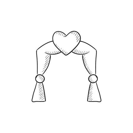結婚式アーチ ベクトル スケッチ アイコンを背景に分離します。手描きウェディング アーチ アイコン。インフォ グラフィック、web サイトまたはア  イラスト・ベクター素材