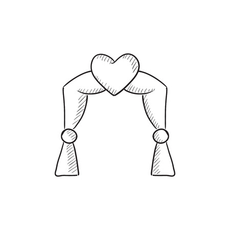 altar: Wedding arch vector sketch icon isolated on background. Hand drawn Wedding arch icon. Wedding arch sketch icon for infographic, website or app.