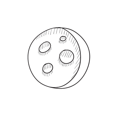 moon surface: Moon surface with cheese holes vector sketch icon isolated on background. Hand drawn Moon surface with cheese holes icon. Moon surface with cheese holes sketch icon for infographic, website or app.