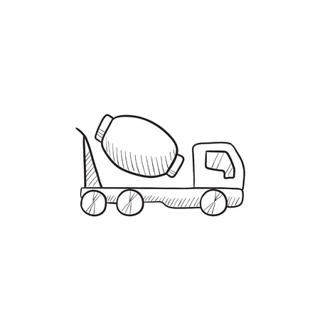 concrete mixer truck: Concrete mixer truck vector sketch icon isolated on background. Hand drawn Concrete mixer truck icon. Concrete mixer truck sketch icon for infographic, website or app. Illustration