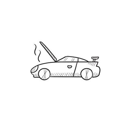 Voiture cassée avec ouverture vecteur capot icône croquis isolé sur fond. Hand drawn voiture brisé avec ouvert icône de la hotte. voiture cassée avec capot ouvert icône esquisse pour infographie, site Web ou application. Banque d'images - 57824353