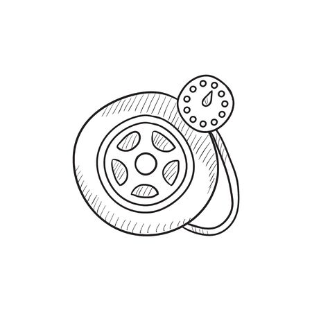 vector tyre: Pressure gauge tyre vector sketch icon isolated on background. Hand drawn Pressure gauge tyre icon. Pressure gauge tyre sketch icon for infographic, website or app.