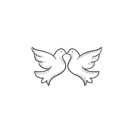 Wedding doves vector sketch icon isolated on background. Hand drawn Wedding doves icon. Wedding doves sketch icon for infographic, website or app. Illustration
