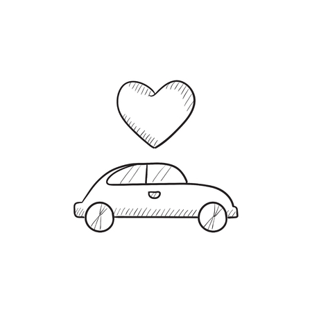 Wedding Car With Heart Vector Sketch Icon Isolated On Background
