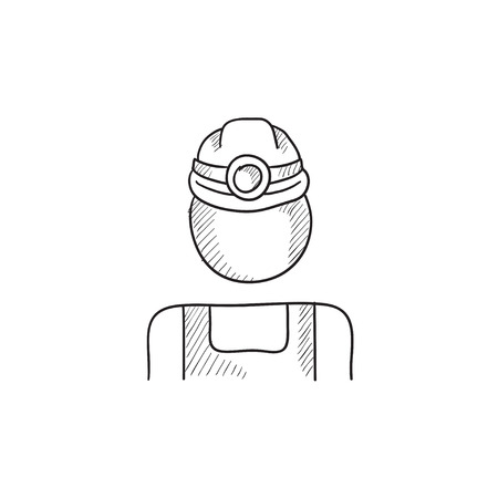 miner: Coal miner vector sketch icon isolated on background. Hand drawn Coal miner icon. Coal miner sketch icon for infographic, website or app.