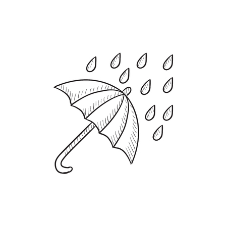 torrential rain: Rain and umbrella vector sketch icon isolated on background. Hand drawn Rain and umbrella icon. Rain and umbrella sketch icon for infographic, website or app. Illustration