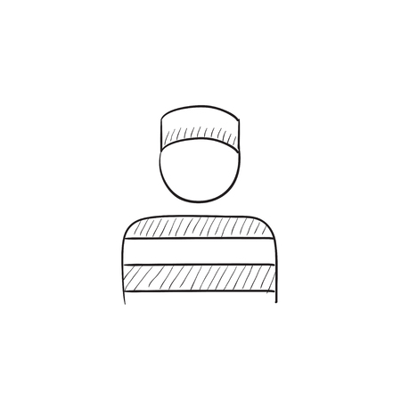 penitentiary: Prisoner vector sketch icon isolated on background. Hand drawn Prisoner icon. Prisoner sketch icon for infographic, website or app. Illustration