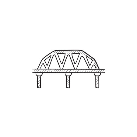 rail: Rail way bridge vector sketch icon isolated on background. Hand drawn Rail way bridge icon. Rail way bridge sketch icon for infographic, website or app. Stock Photo