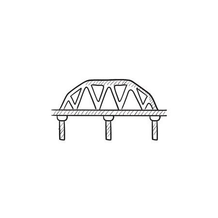Rail way bridge vector sketch icon isolated on background. Hand drawn Rail way bridge icon. Rail way bridge sketch icon for infographic, website or app. Stok Fotoğraf