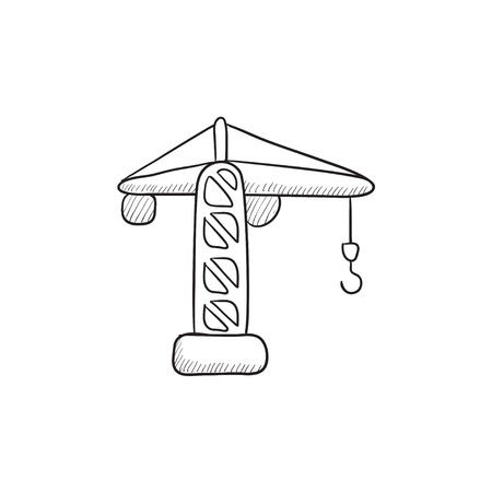 hold high: Construction crane vector sketch icon isolated on background. Hand drawn Construction crane icon. Construction crane sketch icon for infographic, website or app.