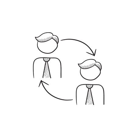 Staff turnover vector sketch icon isolated on background. Hand drawn Staff turnover icon. Staff turnover sketch icon for infographic, website or app.