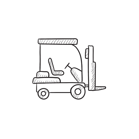 Forklift vector sketch icon isolated on background. Hand drawn Forklift icon. Forklift sketch icon for infographic, website or app. Stock Photo