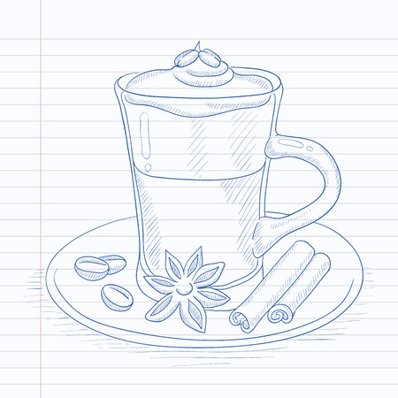 Coffee cup with anise, sticks of cinnamon and coffee beans on saucer. Coffee hand drawn on notebook paper in line background. Coffee vector sketch illustration. Ilustracja