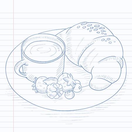 Desayuno con la taza de café, croissant y bayas en la placa. El desayuno dibujado a mano en papel de cuaderno en el fondo de la línea. Desayuno ilustración dibujo vectorial. Foto de archivo - 57911763