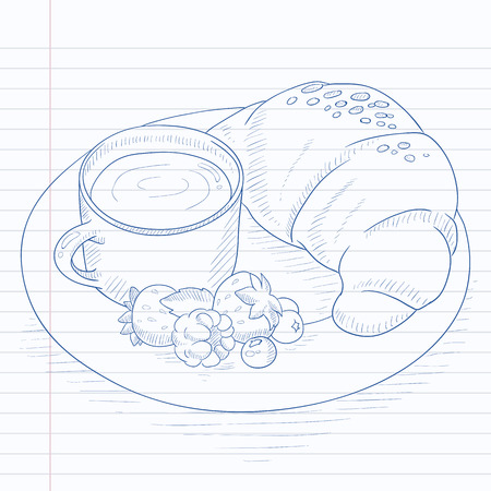 Breakfast with cup of coffee, croissant and berries on plate. Breakfast hand drawn on notebook paper in line background. Breakfast vector sketch illustration. Illustration