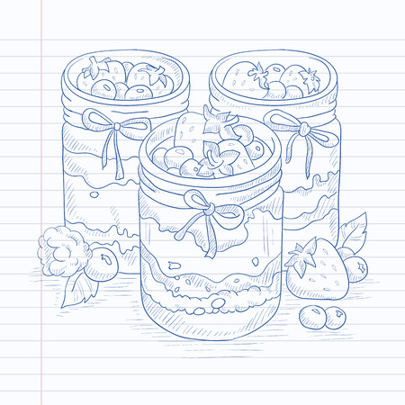 hand jam: Jam in glass jars and fresh berries. Jam jar hand drawn on notebook paper in line background. Jam jar vector sketch illustration. Illustration