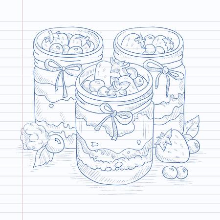 Jam in glass jars and fresh berries. Jam jar hand drawn on notebook paper in line background. Jam jar vector sketch illustration. Çizim