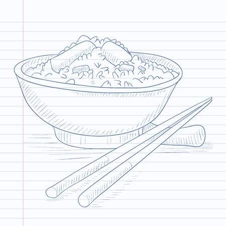 젓가락으로 밥 그릇입니다. 밥 손의 그릇 라인 배경에 노트북 종이에 그려진. 밥 벡터 스케치 그림의 그릇입니다.