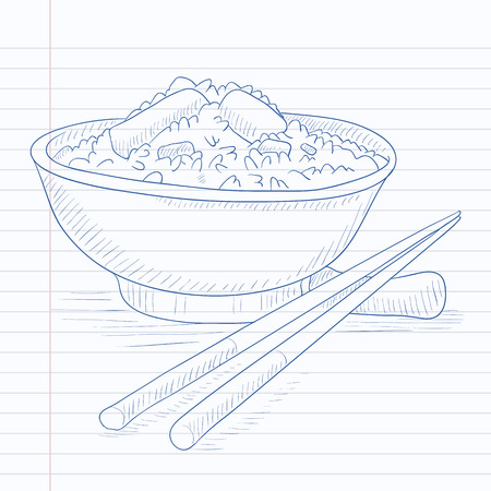Bowl of boiled rice with chopsticks. Bowl of boiled rice hand drawn on notebook paper in line background. Bowl of boiled rice vector sketch illustration. Illusztráció