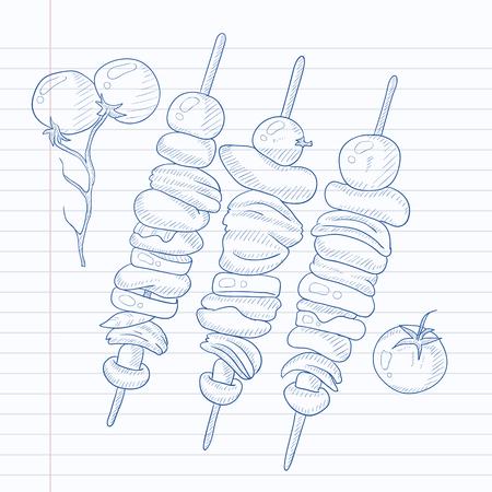 Shish kebabs on skewers. Shish kebabs hand drawn on notebook paper in line background. Shish kebabs vector sketch illustration. Ilustração