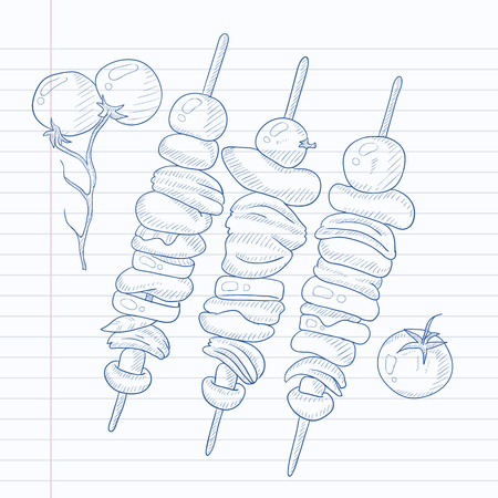 Shish kebabs on skewers. Shish kebabs hand drawn on notebook paper in line background. Shish kebabs vector sketch illustration. Illustration
