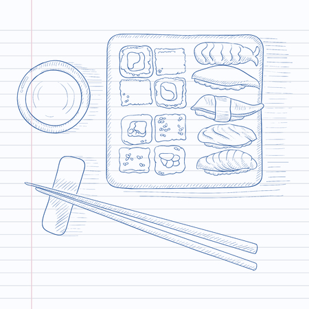 Various kinds of sushi served on a plate. Sushi hand drawn on notebook paper in line background. Sushi vector sketch illustration.