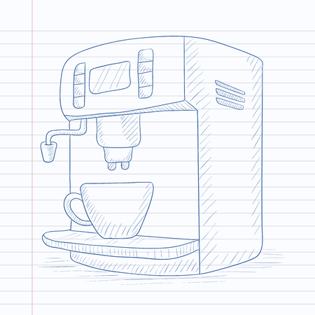 automat: Coffee maker with cup. Coffee maker hand drawn on notebook paper in line background. Coffee maker vector sketch illustration.