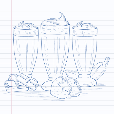 banana sheet: Banana, strawberry and chocolate smoothies. Smoothies hand drawn on notebook paper in line background. Smoothies vector sketch illustration.