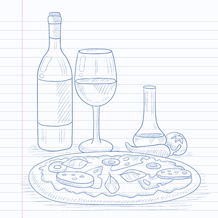 Pizza with bottle of wine and a glass. Pizza hand drawn on notebook paper in line background. Pizza vector sketch illustration. Vettoriali