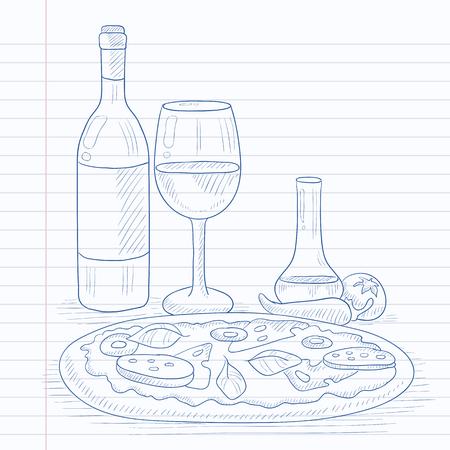 Pizza met een fles wijn en een glas. Pizza met de hand getekend op notebook papier in lijn achtergrond. Pizza vector schets illustratie.