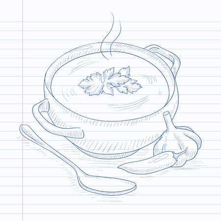 Pot of hot soup. Soup hand drawn on notebook paper in line background. Soup vector sketch illustration. Vettoriali