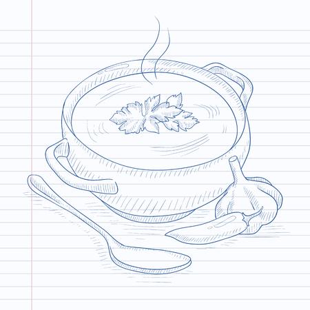 Pot hete soep. De soep van de hand getekend op notebook papier in lijn achtergrond. Soup vector schets illustratie.