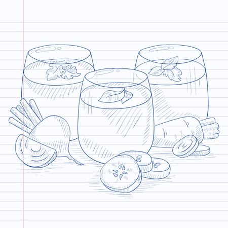 squeezed: Freshly squeezed vegetable juices from cucumber, beet and carrot. Squeezed vegetable juices hand drawn on notebook paper in line background. Squeezed vegetable juices vector sketch illustration.