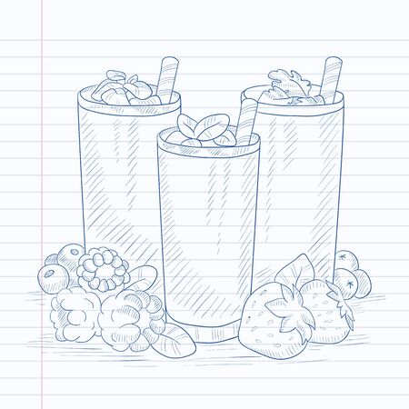 Various fresh berries smoothies in glasses with straw. Smoothies hand drawn on notebook paper in line background. Smoothies vector sketch illustration. Ilustracja