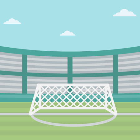 soccer field stadium: Background of soccer stadium. Soccer stadium with gate. Soccer field. Soccer arena. Soccer stadium vector flat design illustration. Sport concept. Square layout.