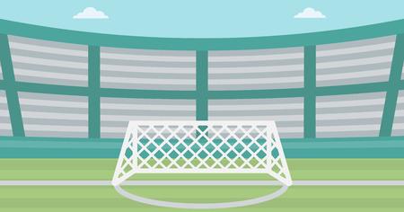 Achtergrond van het voetbalstadion. Voetbalstadion met poort. Voetbalveld. Soccer arena. Voetbalstadion vector platte ontwerp illustratie. Horizontla lay-out.