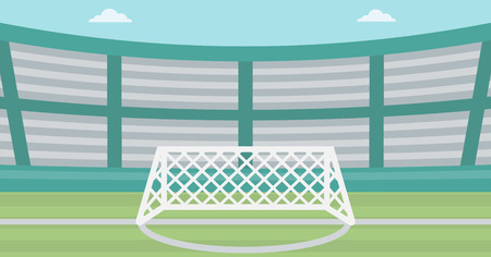 soccer field: Background of soccer stadium. Soccer stadium with gate. Soccer field. Soccer arena. Soccer stadium vector flat design illustration. Horizontla layout.