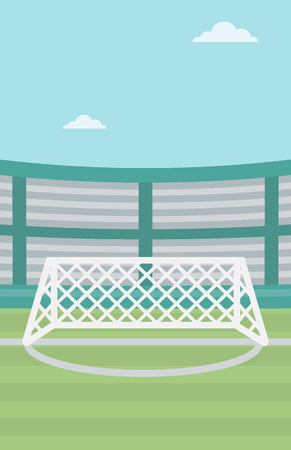 soccer stadium: Background of soccer stadium. Soccer stadium with gate. Soccer field. Soccer arena. Soccer stadium vector flat design illustration. Vertical layout.