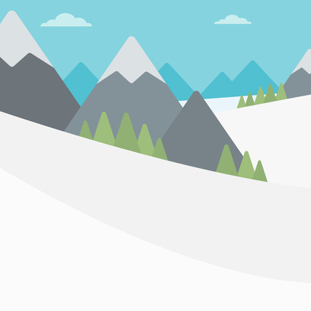 snowcapped landscape: Background of snow capped mountain. Landscape with mountain peaks vector flat design illustration. Outdoors extreme sports concept. Square layout.