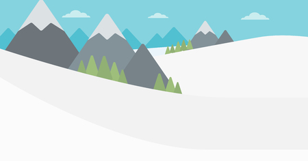 Background of snow capped mountain. Landscape with mountain peaks vector flat design illustration. Outdoors extreme sports concept. Horizontla layout.