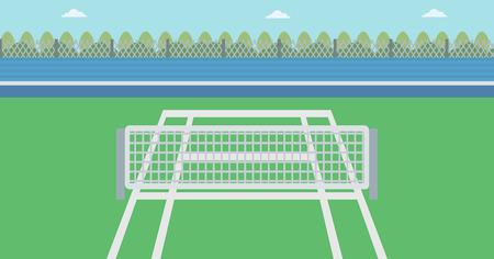 Antecedentes de la pista de tenis. pista de tenis exterior del vector diseño plano ilustración. Una pista de tenis en una arena. Concepto de deporte. Horizontla diseño. Ilustración de vector