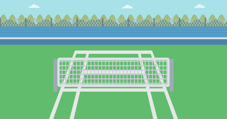 Background of tennis court. Outdoor tennis court vector flat design illustration. A tennis court in an arena. Sport concept. Horizontla layout. Vektorové ilustrace