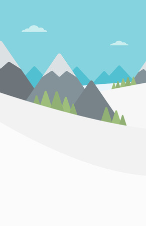 snowcapped landscape: Background of snow capped mountain. Landscape with mountain peaks vector flat design illustration. Outdoors extreme sports concept. Vertical layout.